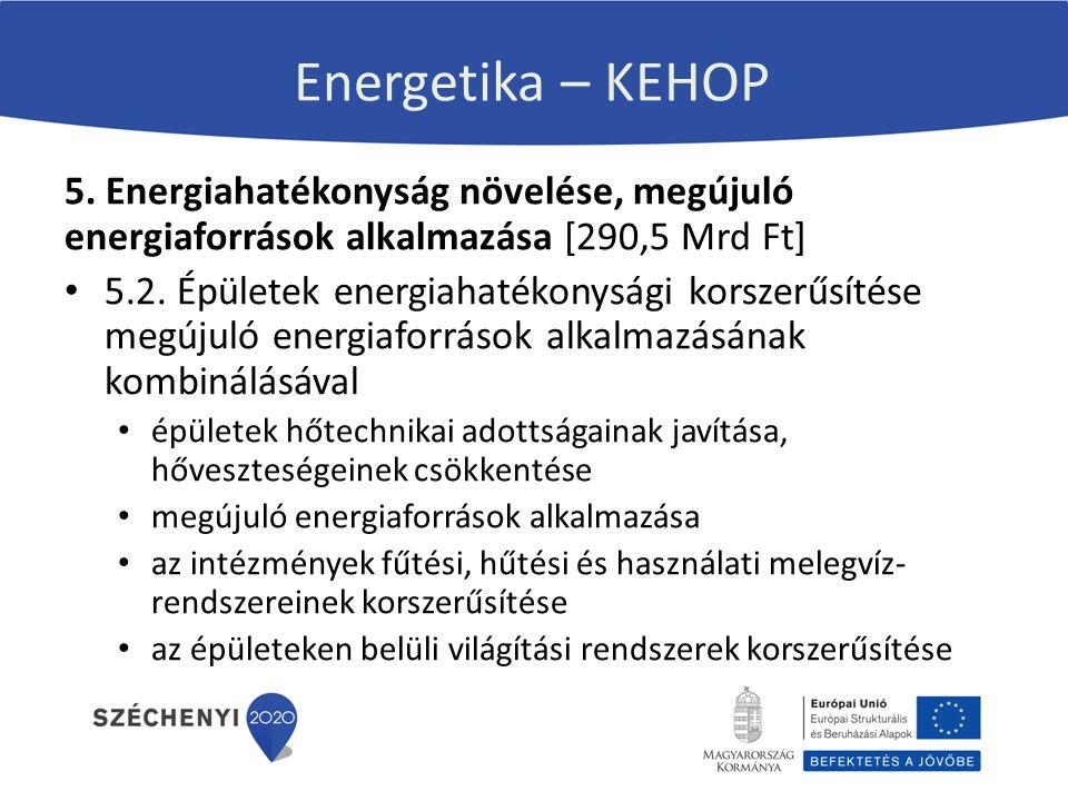 Energetika – KEHOP 5. Energiahatékonyság növelése, megújuló energiaforrások alkalmazása [290,5 Mrd Ft]